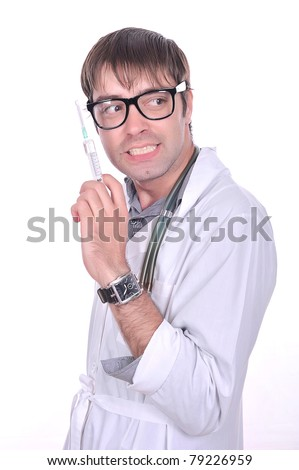 strange silly doctor with a syringe, crazy eyes, the isolated image, mad doctor?,isolated over white image,