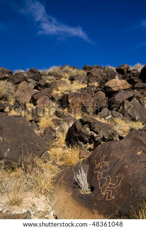 Strange symbol in landscape, Petroglyph National Park, New Mexico - stock photo