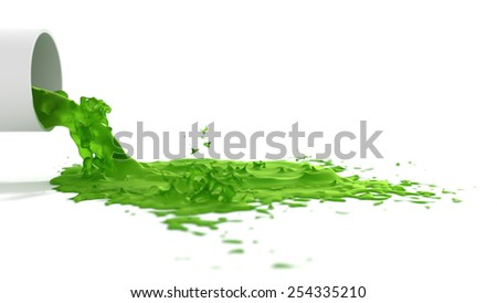 Strange toxic green liquid splashing out on a white surface. Pollution and chemical concepts. - stock photo