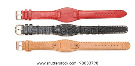Strap On A Wristwatch isolated on white - stock photo