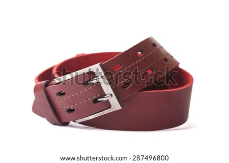 Strap red leather - stock photo
