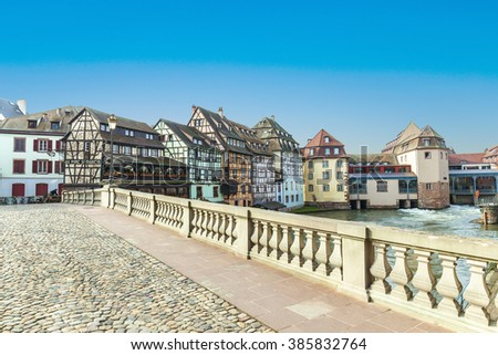 Strasbourg, bridge Ponts St. Martin with old half timbered houses