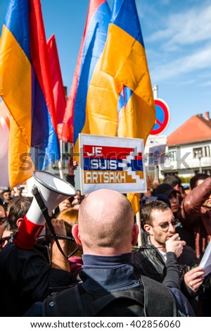 STRASBOURG, FRANCE - APR 8, 2016: Armenian diaspora protest outside Azerbaijan Embassy against the 2016 clashes in Nagorny-Karabakh, the region disputed by Armenia and Azerbaijan