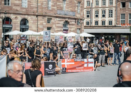 STRASBOURG, FRANCE - AUG 22, 2015: Marine conservation non-profit organization Sea Shepherd protesting against the slaughter of pilot whales and arrest of 7 crew members - solidarity protest - stock photo