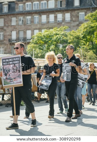 STRASBOURG, FRANCE  AUG 22, 2015 Marine conservation non-profit organization Sea Shepherd protesting against the slaughter of pilot whales and arrest of 7 crew members - solidairty march with placards - stock photo