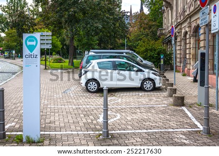 Strasbourg, France - August 10, 2014: Parking for electric cars companies Citiz in Strasbourg, Alsace, France - stock photo