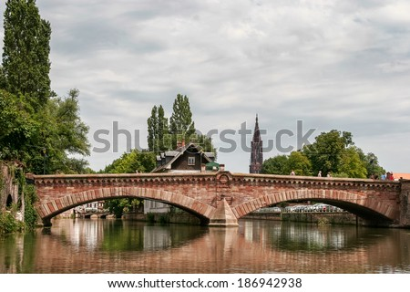 STRASBOURG, FRANCE/EUROPE - JULY 17 : Bridge over a canal in Strasbourg on July 17, 2007. Unidentified people.