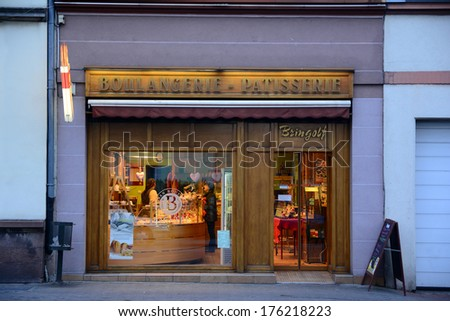 STRASBOURG, FRANCE - FEBRUARY 11, 2014: Boulangerie - Patisserie, one of the leading bakeries Bischheim