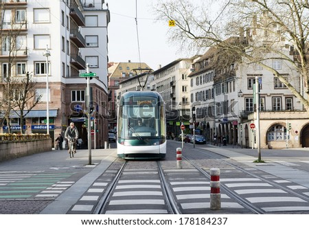 Strasbourg, France 18 February 2014: Which plays an important role in Strasbourg tramway to transport every day thousands of people to their destination delivers up