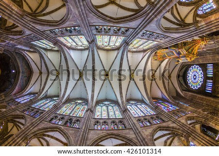 STRASBOURG, FRANCE - JULY 4, 2013: ceiling view of Cathedral of Our Lady in the old town part of Strasbourg, France. Strasbourg is a city in region Alsace in France. - stock photo