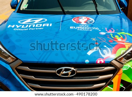 STRASBOURG, FRANCE - JUN 6, 2017: Detail of Hyundai Tucson, Official Partner and official transporter of the UEFA Cup Trophy