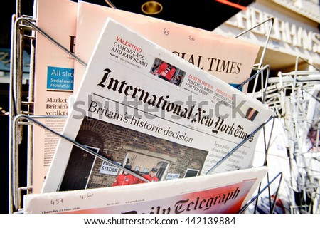 STRASBOURG, FRANCE - JUN 24, 2016: International New York Times at press kiosk about the Brexit referendum in United Kingdom which has decided the country wishes to quit the European Union - stock photo