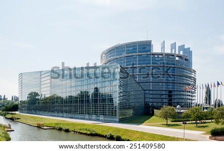 STRASBOURG, FRANCE - JUN 29: Large facade of the European Parliament in Strasbourg on Jun 29,  2010. The EU Parliament or the EP is the elected parliamentary institution of the European Union (EU) - stock photo