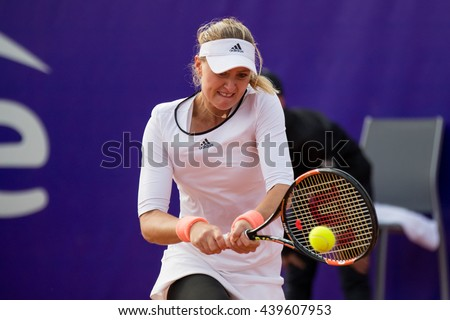 Strasbourg, France - May 14, 2016 - Kristina Mladenovic hits a backhand