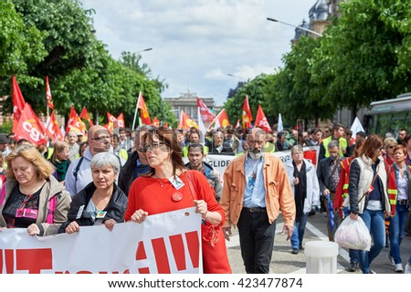 STRASBOURG, FRANCE - MAY 19, 2016: more than one thousand on Avenue de la Liberte  during a demonstrations against proposed French government's labor and employment law reform - stock photo