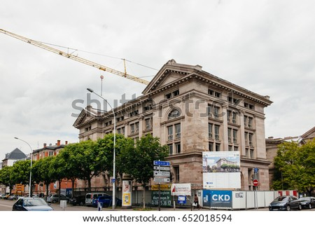 STRASBOURG, FRANCE - MAY 18, 2017: Reconstruction of the old Archive building to luxury apartments in French city of Strasbourg