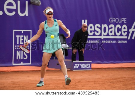 Strasbourg, France - May 17, 2016 - Samantha Stosur hits a forehand