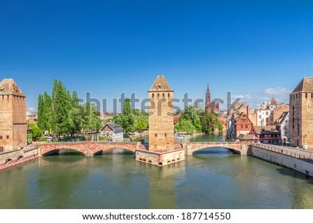 Strasbourg, medieval bridge Ponts Couverts. Alsace, France.  - stock photo