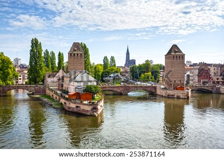 "Strasbourg, medieval bridge Ponts Couverts is located in the historic district ""Petite France"". Alsace, France. - stock photo"