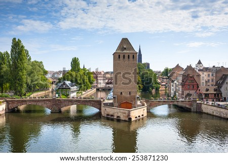 """Strasbourg, medieval bridge Ponts Couverts is located in the historic district """"Petite France"""". Alsace, France. - stock photo"""