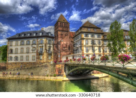 Strasbourg, Saint Thomas Church in the old town, Alsace, France. The historic center of Strasbourg is UNESCO World Heritage Site, HDR - stock photo