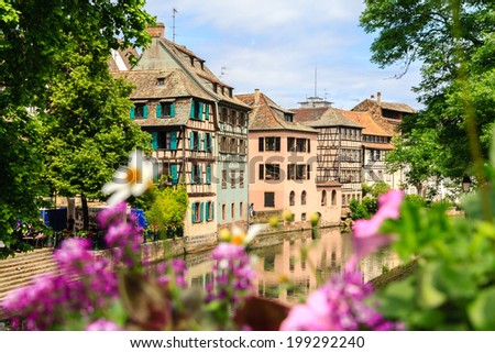 Strasbourg, water canal in Petite France area. - stock photo