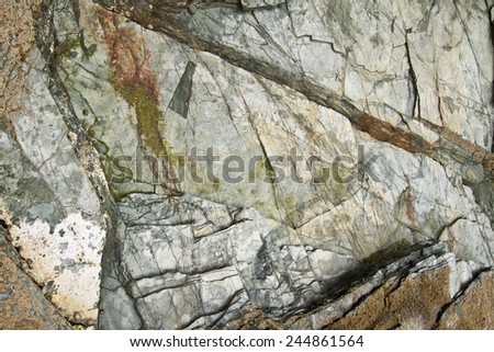 Strata, slate or shale rock layers. Coast Cathedrals beach - stock photo