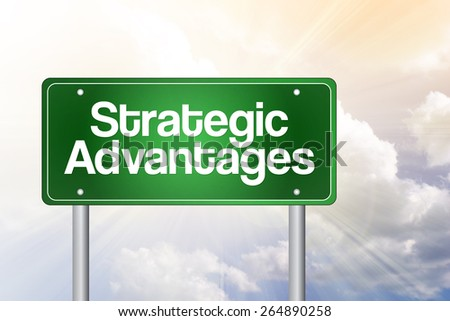 Strategic Advantages Green Road Sign, Business Concept - stock photo
