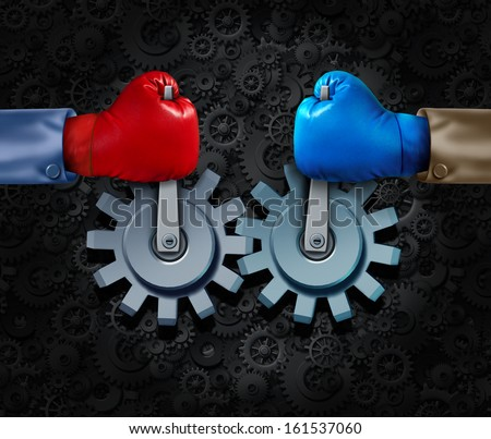 Strategic alliance and corporate partnership or business teamwork concept with two rival businessmen with boxing gloves merging together to form a competition cooperation moving gears and cogs. - stock photo