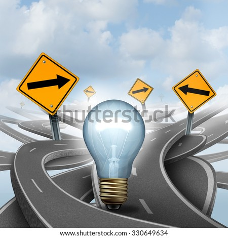 Strategic Ideas concept as a business symbol with a lightbulb or light bulb choosing the right strategic path for a new creative way with yellow traffic signs arrows and tangled roads. - stock photo