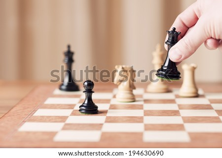 strategic moves, chess game - stock photo