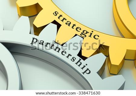 Strategic Partnership concept on the gearwheels - stock photo