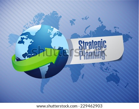strategic planning globe sign illustration design over a world map background