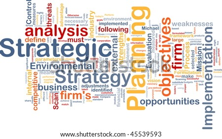 Strategic planning word cloud concept