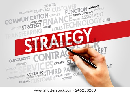 Strategy and management business concept words cloud - stock photo
