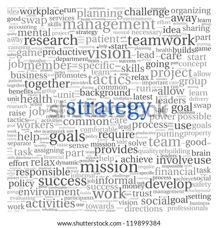 Strategy and management concept in word tag cloud on white background - stock photo