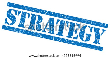 strategy blue square grunge textured isolated stamp - stock photo