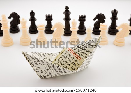 strategy boat and chess, business and training concepts - stock photo