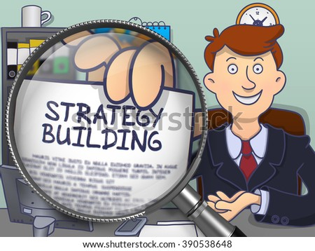 Strategy Building. Paper with Text in Business Man's Hand through Lens. Multicolor Modern Line Illustration in Doodle Style. - stock photo