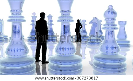 Strategy concept. Two business men playing chess.