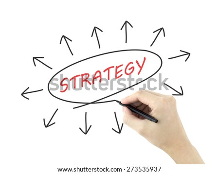 strategy concept with arrows written by man's hand on white background