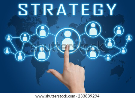 Strategy concept with hand pressing social icons on blue world map background. - stock photo