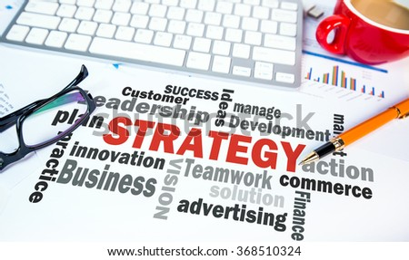 strategy concept word cloud chart; office scene