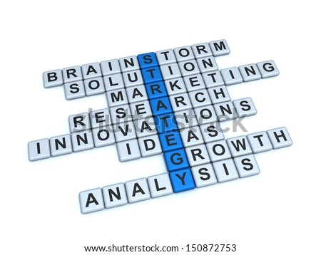 Strategy Concept. Word Strategy and related with it words: brainstorm, solution, marketing, research, innovations, ideas, growth, analysis on a white background.
