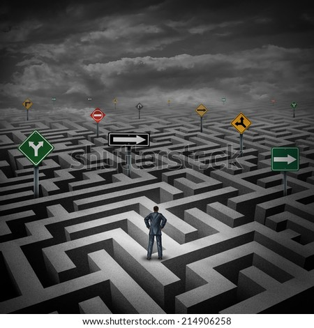 Strategy crisis concept as a businessman standing on a maze or labyrinth with confusing direction road signs as a metaphor for facing difficulties in business and the stress of daily life. - stock photo