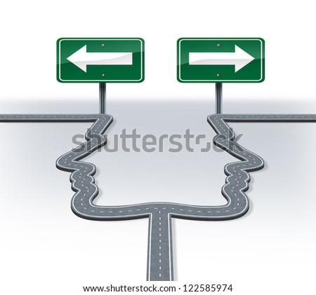 Strategy decisions and career choices at a cross roads with a fork in the road shaped as two human heads as a business dilemma choosing the direction to travel with two equal or similar options. - stock photo