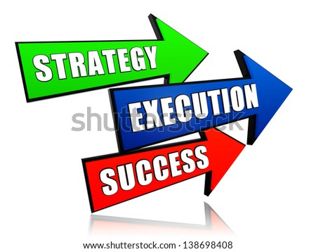 strategy, execution, success - text in 3d arrows, business concept words - stock photo