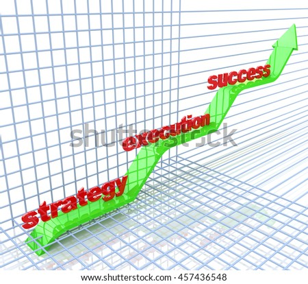 Strategy, execution, success - text in 3d arrows, business concept words in the design of access to information relating to the objectives in the field of business. 3d illustration - stock photo
