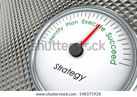 Strategy Gauge with words Identify, Plan, Execute, and Succeed on a Metal Background - stock photo