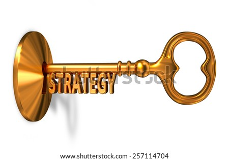 Strategy - Golden Key is Inserted into the Keyhole Isolated on White Background - stock photo